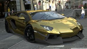 Golden Lamborghini Car by AcerSense
