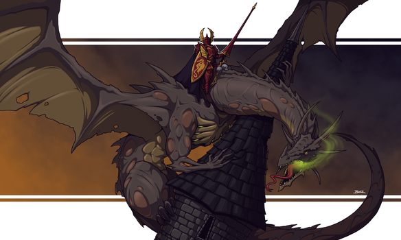 Sir Zigmund Steinbach astride his Zombie Dragon by Blazbaros