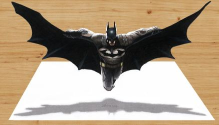 3D Pencil Drawing of Batman by JasminaSusak