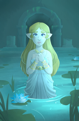 Zelda at the Spring of Power by Decapitated-Kittens