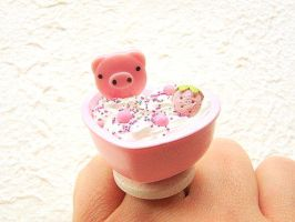 Pig in Ice Cream Bath by souzoucreations