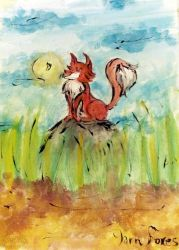 the Red Yarn Fox in the Fields by qBATGIRLq