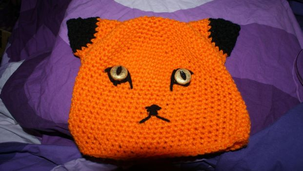 fox hat with handmade button eyes by WhimsicallyObsessed