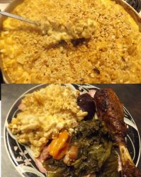 Mac n Cheese, Turkey and Greens by kukuramutta