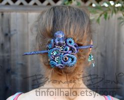Octopus Hair Ornament - Purple with Teal Swirlies by TinfoilHalo