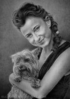 Young Lady with dog by Eluany