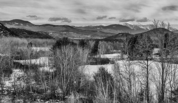 White Mountains of New Hampshire in B/W by jjcpix