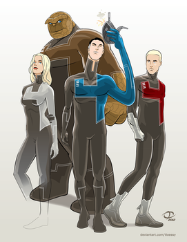 Fantastic Four costume redesign by Tloessy