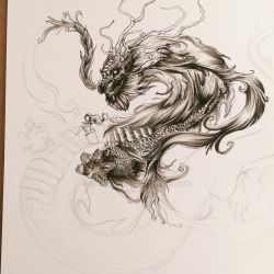 Dragon pen art 02 WIP