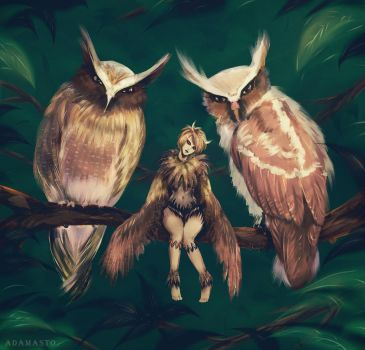 Art Challenge - 14. Owl's child by AdamaSto