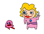 Peach frightens Kirby by holyphat1