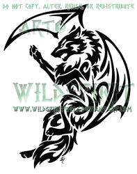 Tribal Dragon Wolf Tattoo by WildSpiritWolf