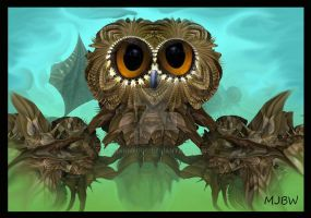 Owl on a Branch by GrannyOgg