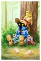 Final Fantasy IX fanart Vivi and Chocobo by aliphelps