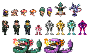 Earthbound Revamp Enemies by DragonDePlatino