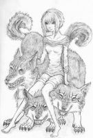 Girl with wolves by MariadelmART