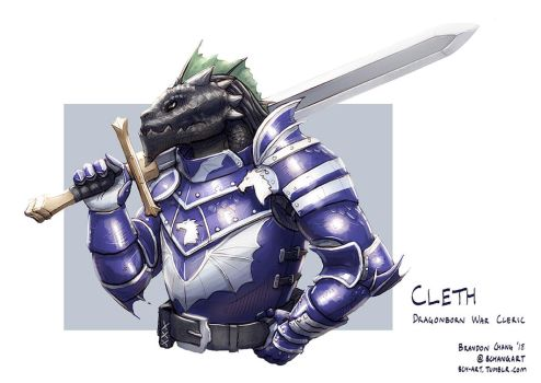 C: Cleth, Black Dragonborn War Cleric by bchart