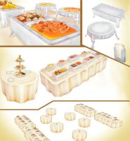 Buffet party set pack MMD download by Hack-Girl