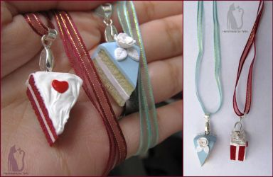 Polymer clay cake necklaces by Talty