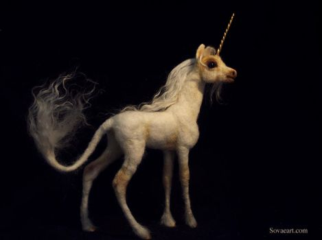 Needle Felted Unicorn by SovaeArt