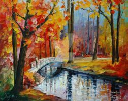 Autumn Stream by Leonid Afremov by Leonidafremov