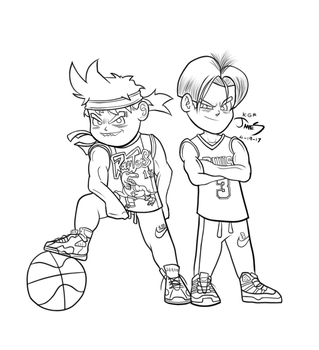 Son Gohan and Kid Trunks by DinomanInc