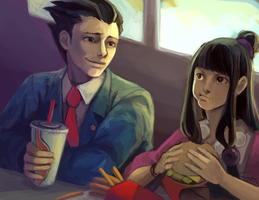 Phoenix Wright: Lunch Break by c-dra