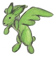 Flying Mint Bunny by Hop-is-my-Hero