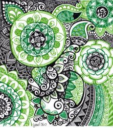Complicated doodle in greens and black by yael360