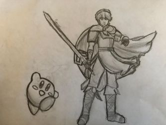Marth And Kirby by UniPitDraws