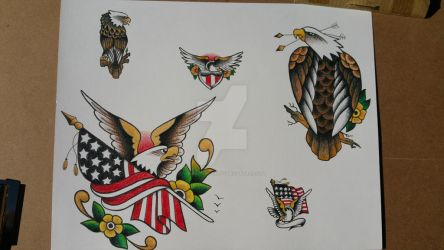 Eagle Tattoo Flash Sheet #1 by TheRaptor-Wolfy