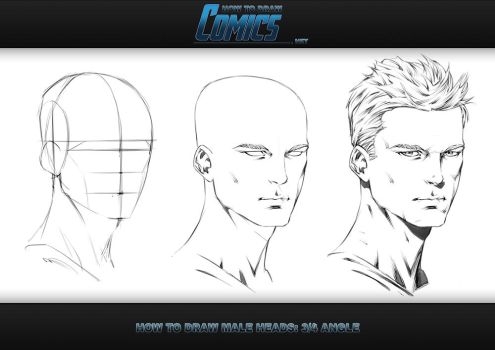How to Draw Male Heads - 3 Quarter Angle by ClaytonBarton