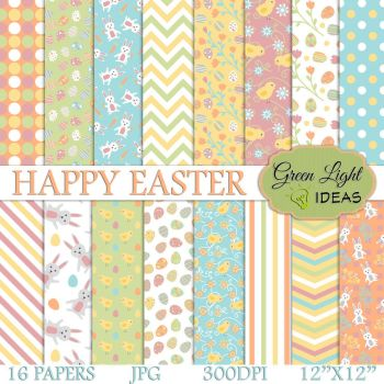 Happy Easter Digital Papers by GreenLightIdeasGLI