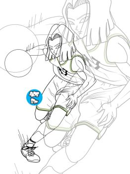 A17 on court Line Art by AdeBa3388