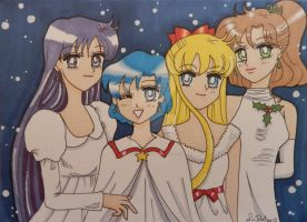 Sailor Moon Christmas cards set 2 of 4 by LadyNin-Chan