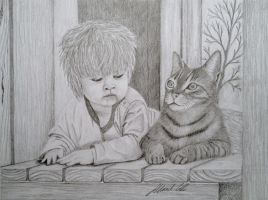 Kid and cat by Udvardi