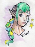 Raffle Prize: Green-haired Elf by JcArtSpace
