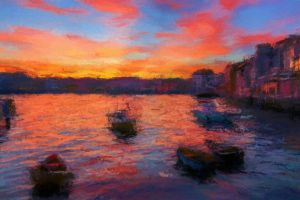 Boats buildings at sunset by daz557