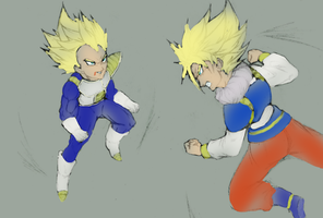 Clash of the Super Saiyans (coloring by unoga) by bringerofdeathDBZ