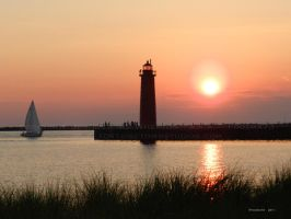 Sunset - Muskegon Pier by Foozma73