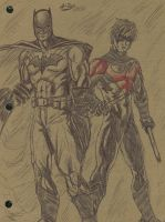 Batman and Nightwing Sketch by A-Train409
