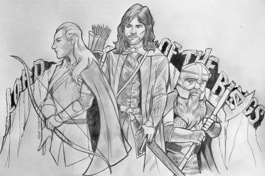 Lord of the Rings - Legolas, Aragorn and Gimli by kennf11