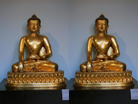 Golden Stereoscopic Buddha Sitting In The V And A by aegiandyad