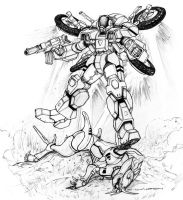 Robotech Spider Cyclone vs Invid Cougar by ChuckWalton