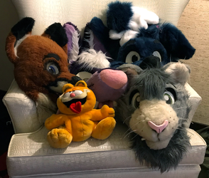 Fursuit head gang (BLFC18) by GuineaPigDan