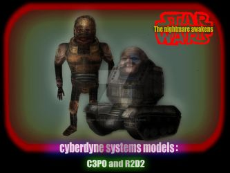 Cyberdyne systems models: C3P0 and R2D2 by kcmp-sewer-sludge