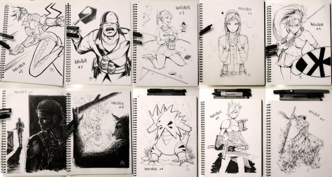 Inktober 1 to 10 by Sciamano240