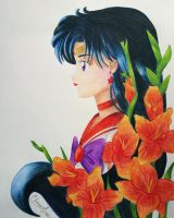 Sailor Mars and Gladiolus by Elveariel