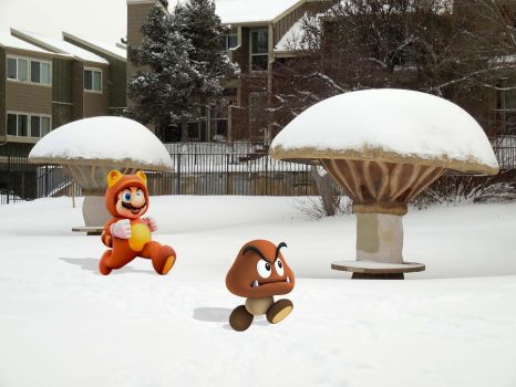 Mario Chasing a Goomba at a Park by The-WaxBadger