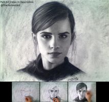 Drawing Emma Wastson in Charcoal 2 by theportraitart